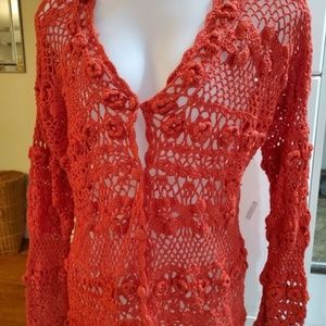Beechers Brook  Coral Crocheted Cardigan Medium